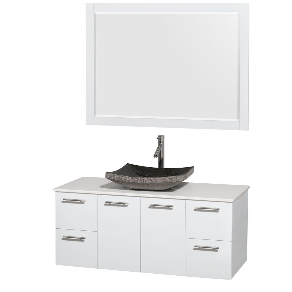 Wyndham Collection Amare 48 in. Vanity in Glossy White with Solid-Surface Vanity Top in White, Granite Sink and 46 in. Mirror