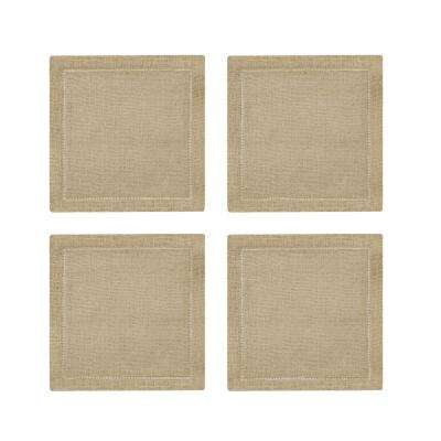 Metallic Hemstitch 6 in. W x 6 in. L in Natural/Gold Cocktail Napkins (Set of 4)