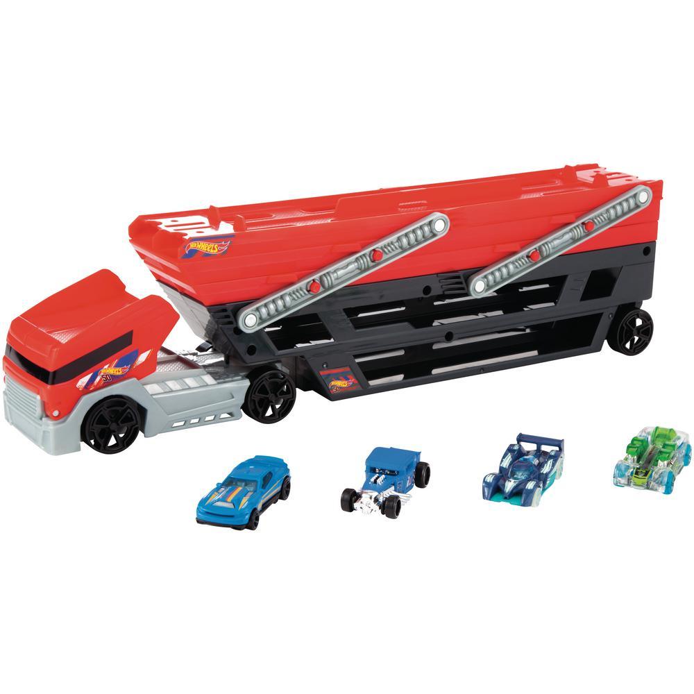 8144bf3c0997f Mattel Hot Wheels Mega Hauler Plus 4 DCC-FPM81 - The Home Depot