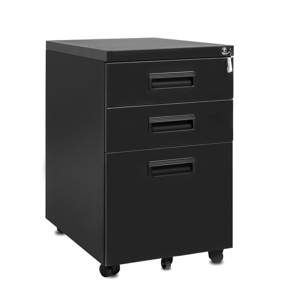 3-Drawer Black Mobile Plastic Handle Metal File Cabinet with Keys