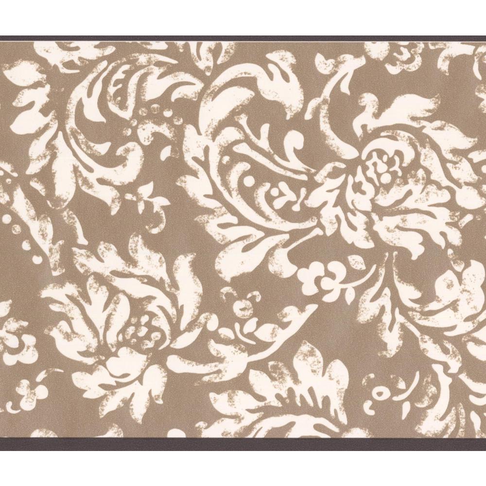 York Wallcoverings Modern White Floral Pattern Brown Damask