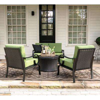 Savannah 4-Piece Wicker Patio Conversation Set with Green Cushions