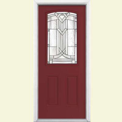 36 in. x 80 in. Chatham Camber 1/2 Lite Left Hand Painted Smooth Fiberglass Prehung Front Door w/ Brickmold, Vinyl Frame