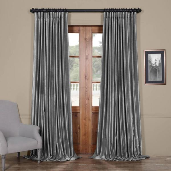 Storm Grey Gray Blackout Extra Wide Vintage Textured Faux Dupioni Curtain - 100 in. W x 96 in. L