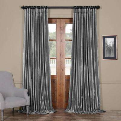 Storm Grey Gray Blackout Extra Wide Vintage Textured Faux Dupioni Curtain - 100 in. W x 108 in. L