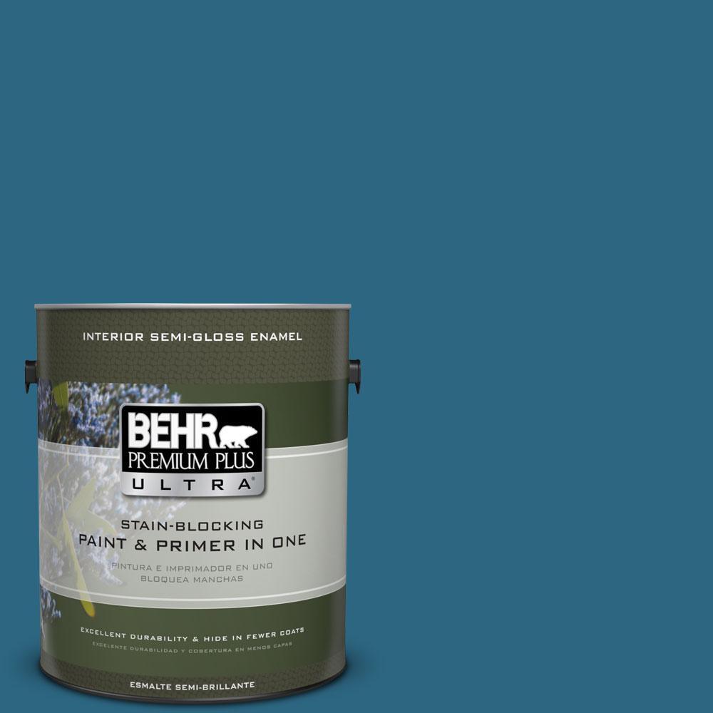 BEHR Premium Plus Ultra 1-gal. #M480-7 Ice Cave Semi-Gloss Enamel Interior Paint