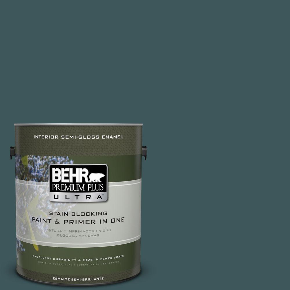 BEHR Premium Plus Ultra 1-gal. #PPU12-1 Abysse Semi-Gloss Enamel Interior Paint