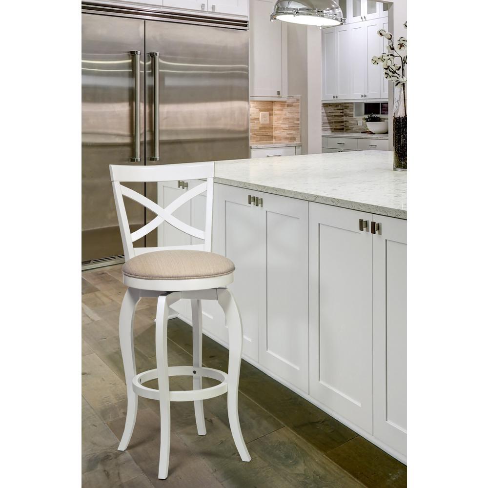 Groovy Hillsdale Furniture Ellendale 25 25 In White Swivel Counter Frankydiablos Diy Chair Ideas Frankydiabloscom