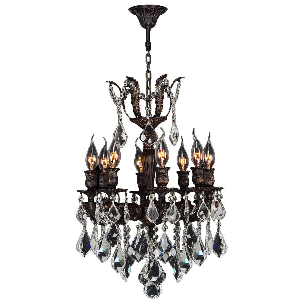 Worldwide Lighting Versailles Collection Chandelier 8-Light Flemish Brass Chandelier with Clear Crystal