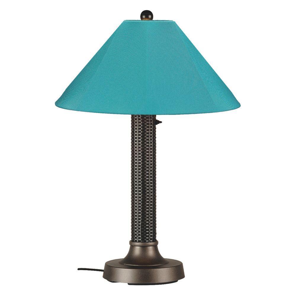 Bahama Weave 34 in. Dark Mahogany Outdoor Table Lamp with Aruba Shade