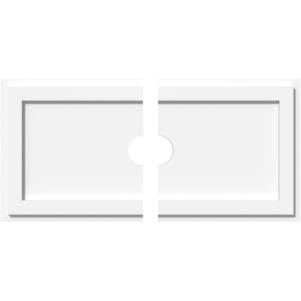 Ekena Millwork 28 in. W x 14 in. H x 3 in. ID x 1 in. P Rectangle Architectural Grade PVC Contemporary Ceiling Medallion (2-Piece)