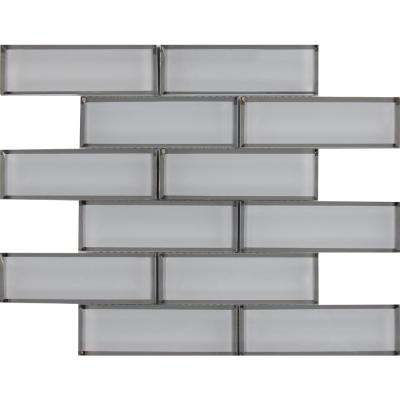 Ice Bevel Subway 11.73 in. x 11.73 in. x 8mm Glass Mesh-Mounted Mosaic Tile (9.6 sq. ft. / case)