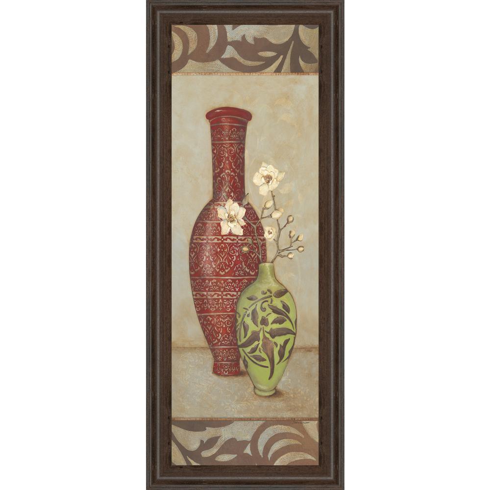 "18 in. x 42 in. ""Red Vase"" by Stephanie Marrott Framed Printed Wall Art"