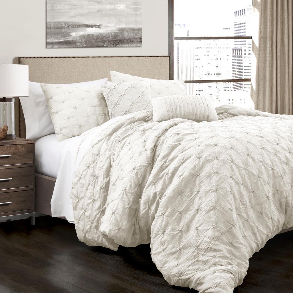 Ravello Pintuck Comforter White 5-Piece King Set