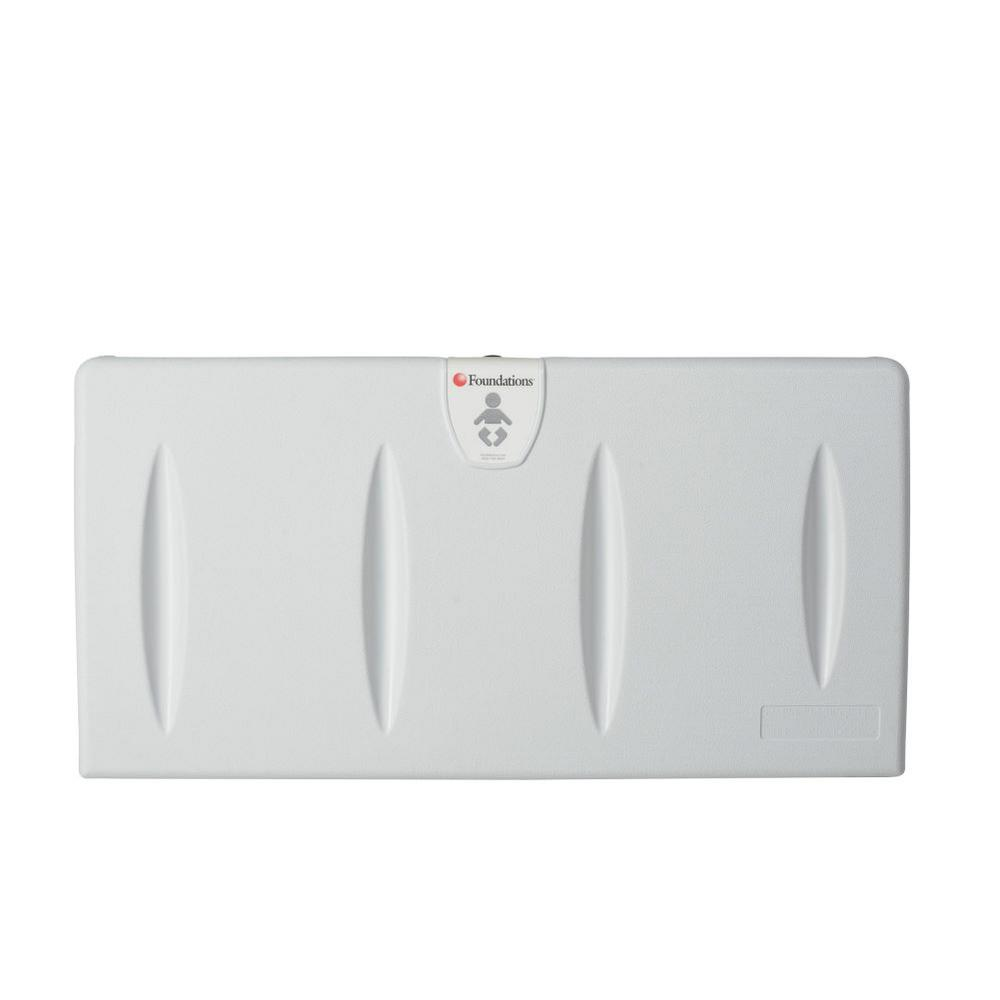Foundations Foundations Horizontal Surface Mount Baby Changing Station with EZ Mount Backer Plate, Light Gray