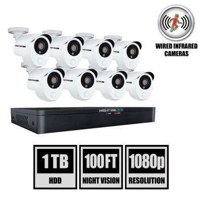8-Channel 3MP 1TB DVR Security Camera System with 8 Wired 1080p Smart Infrared Bullet Cameras