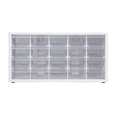 Stationery Crafts and Hardware Organizer Plastic Storage Bin with 12-Assorted Transparent Compartments in White