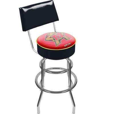 Maryland University 30 in. Chrome Padded Swivel Bar Stool