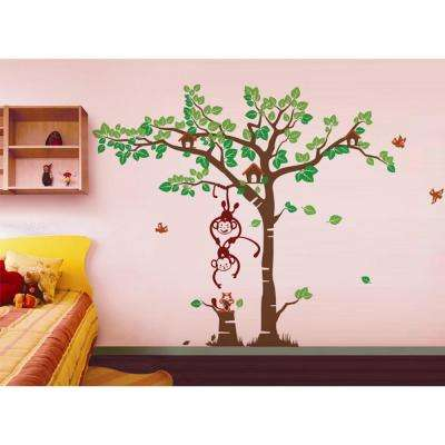 108 in. x 83 in. Playing Monkeys Squirrel Grassland Floral Removable Wall Decal