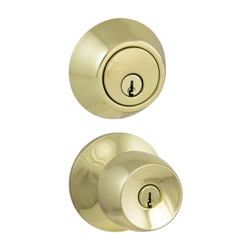 Defiant Brandywine Polished Brass Entry Knob And Double