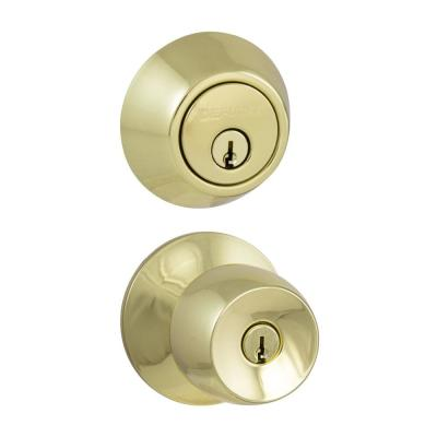 Brandywine Polished Brass Entry Knob and Double Cylinder Deadbolt Combo Pack