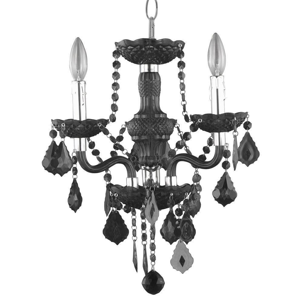 3-Light Chrome Maria Theresa Chandelier with Black Acrylic