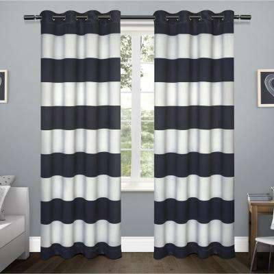Rugby Sateen 52 in. W x 84 in. L Woven Blackout Grommet Top Curtain Panel in Navy (2 Panels)
