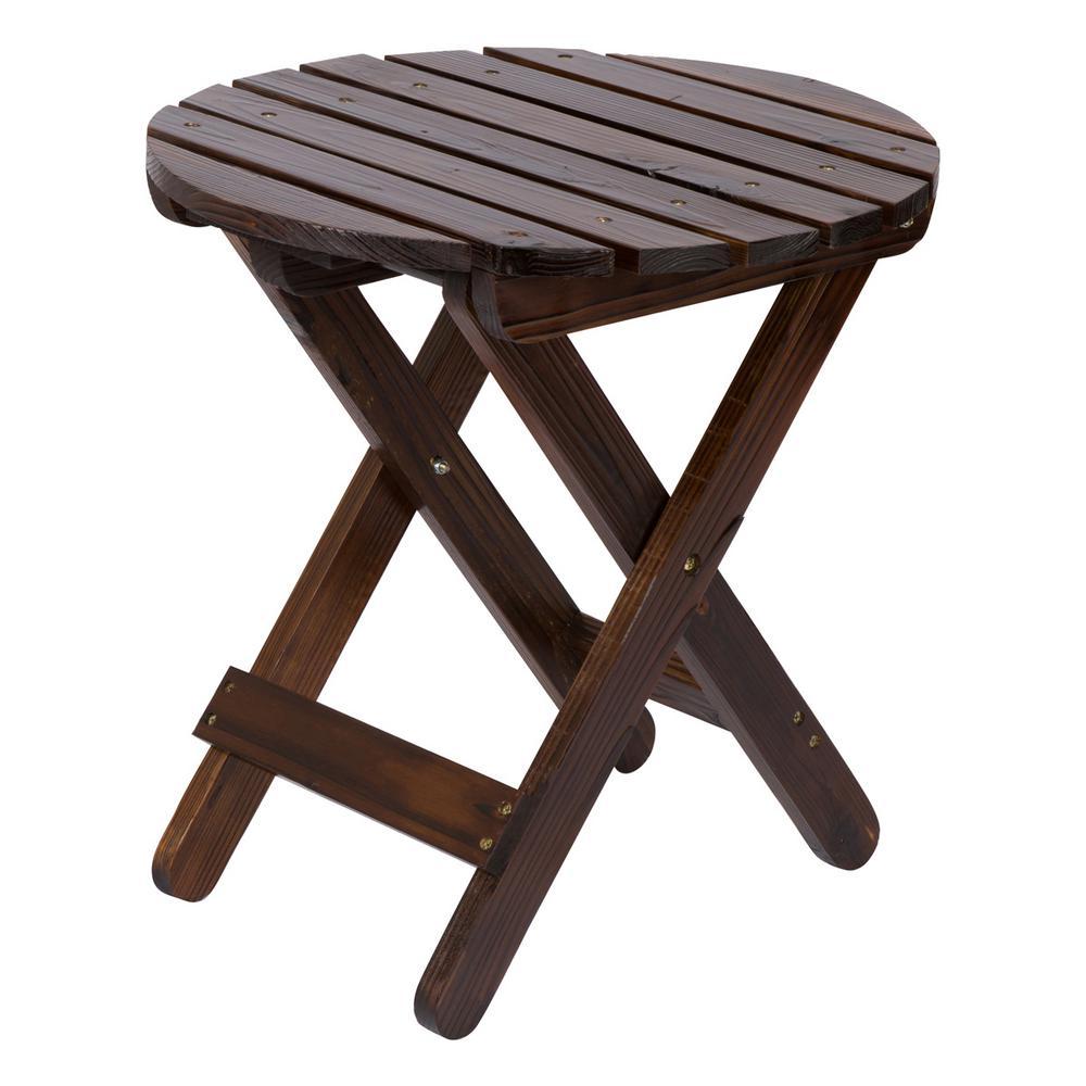 Adirondack Burnt Brown Round Wood Folding Table