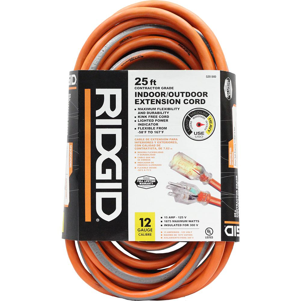 RIDGID 25 ft. 12/3 Outdoor Extension Cord