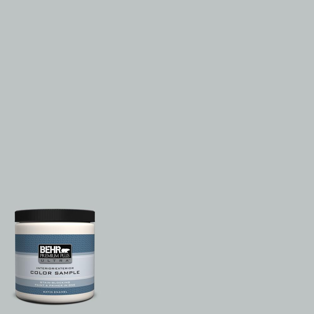 BEHR Premium Plus Ultra 8 oz. #PPU26-18 Silver Mine Satin Enamel Interior/Exterior Paint Sample, Grays