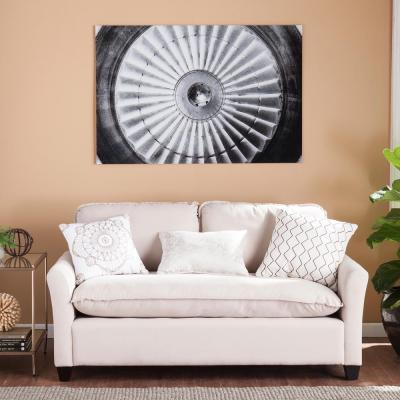 "32 in. H x 47 in. W ""Jet Engine"" Glass Wall Art"