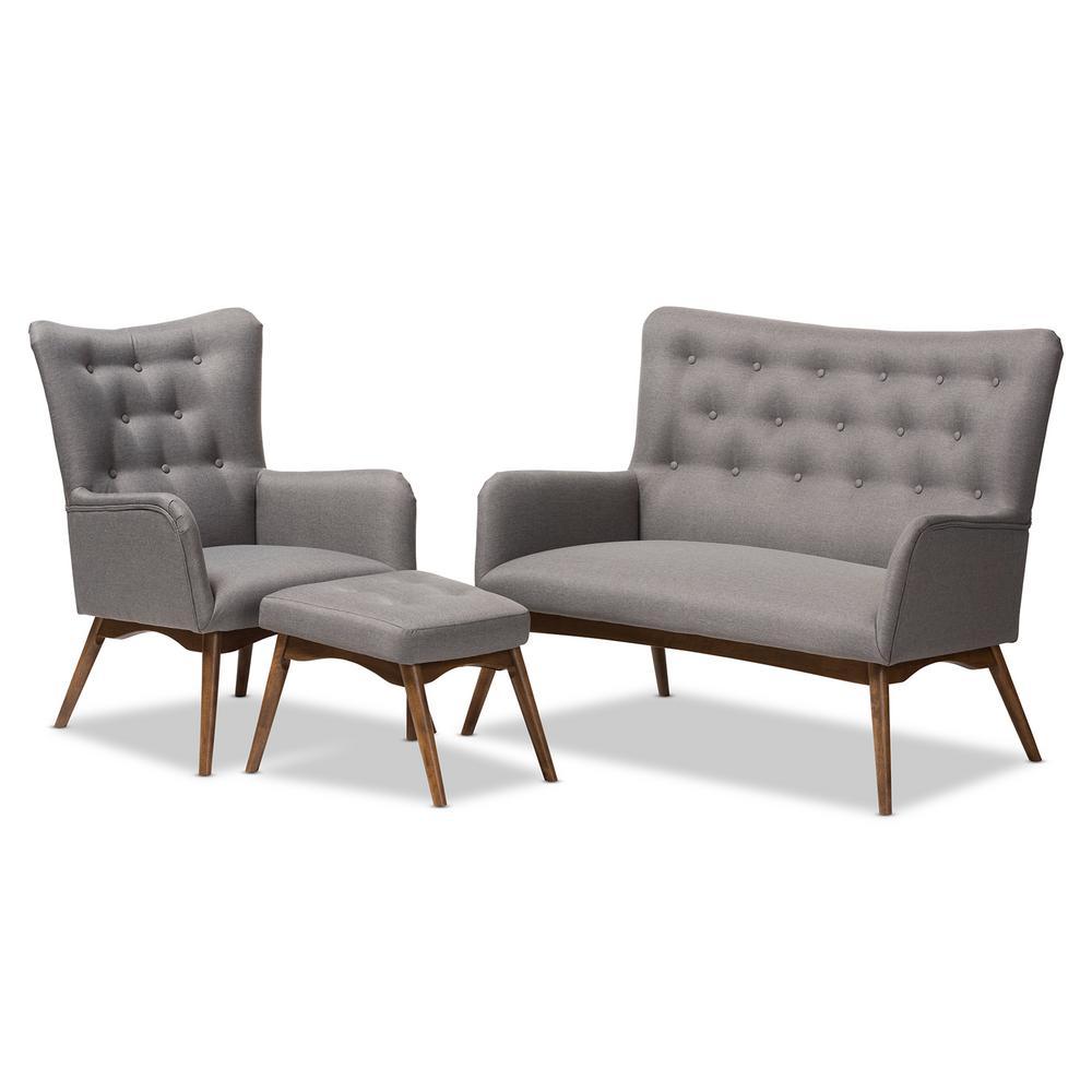 Waldmann 3-Piece Gray Living Room Set