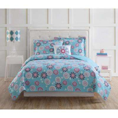 Rosanna Medallion 4-Piece Pink and Turquoise Queen Quilt Set