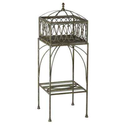 Lyon Filigree 13.5 in. W x 37.99 in. H Brown Metal Planter and Stand