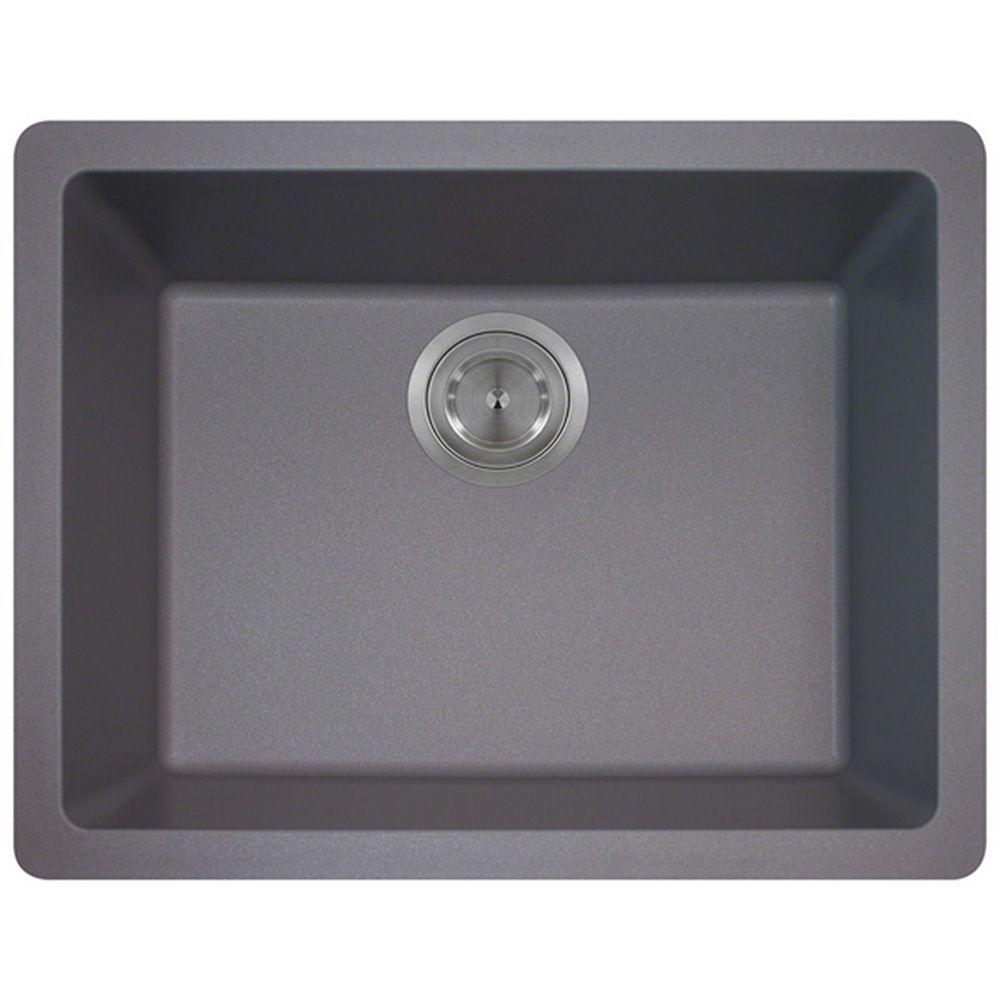 Polaris Sinks Undermount Granite 22 In Single Bowl Kitchen Sink Silver