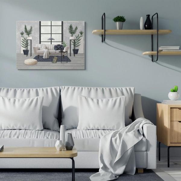 """Stupell Industries 30 In. X 40 In. """"Modern Living Room Interior Design Blue Grey Painting"""" By Ziwei Li Canvas Wall Art-ccp-425_cn_30x40 - The Home Depot"""