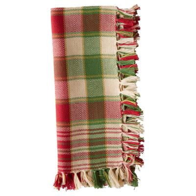 Yuletide 18 in. x 18 in. Red/Green Plaid Cotton Napkins (Set of 4)