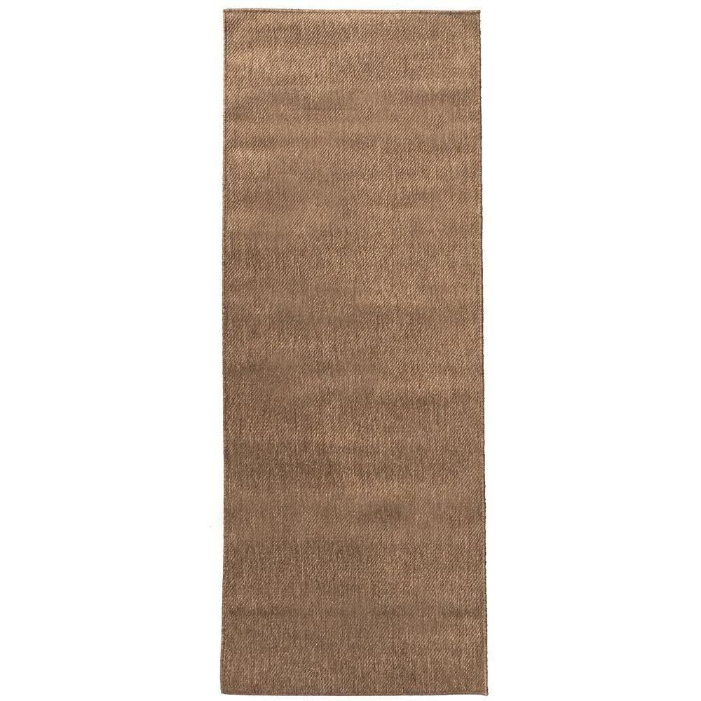Berrnour home summer collection solid brown 2 ft 7 in x for Faux sisal rugs home depot