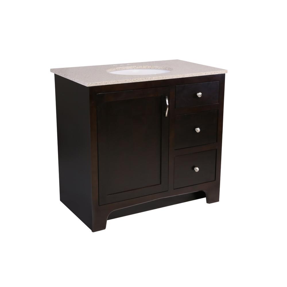 36 in. x 21 in. x 33-1/2 in. 2-Door 2-Drawer Vanity in Espresso with Golden Sand Granite Vanity Top with White Basin