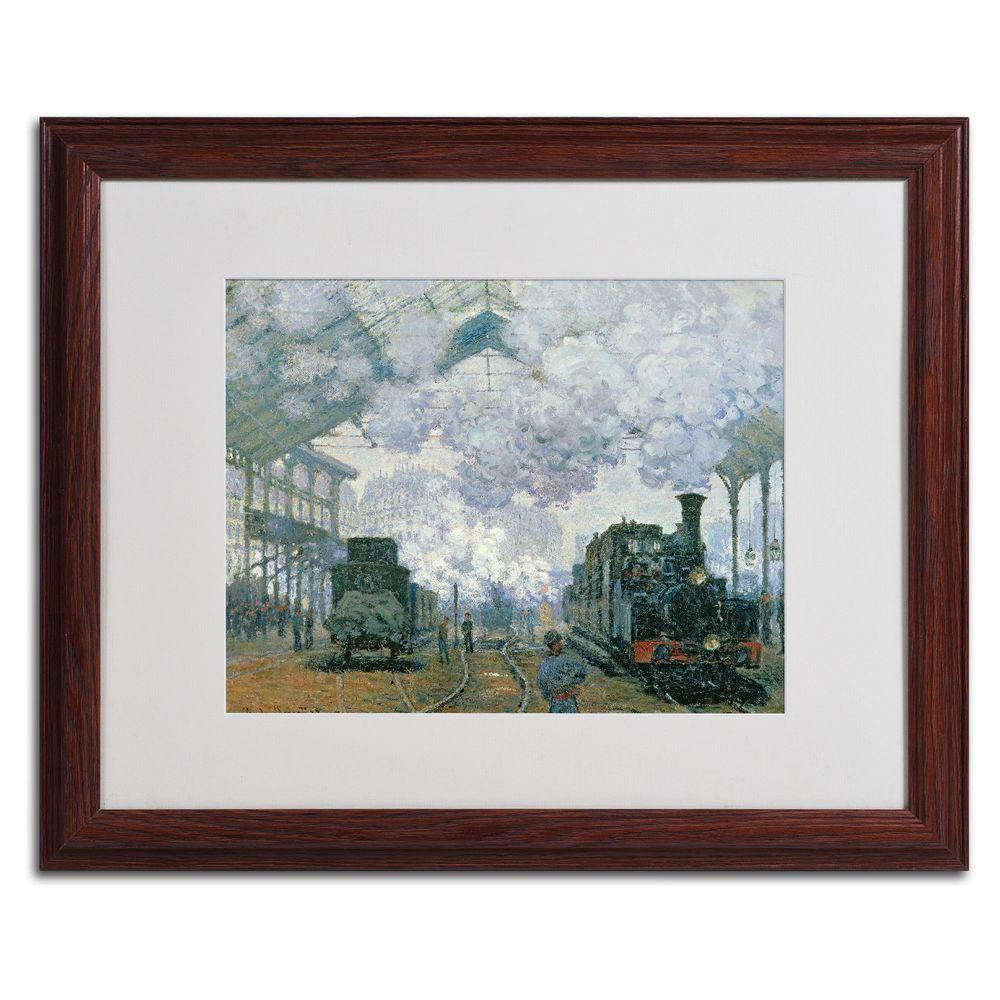 Trademark Fine Art 16 in. x 20 in. Gare Saint-Lazare Arrival of a Train Matted Brown Framed Wall Art