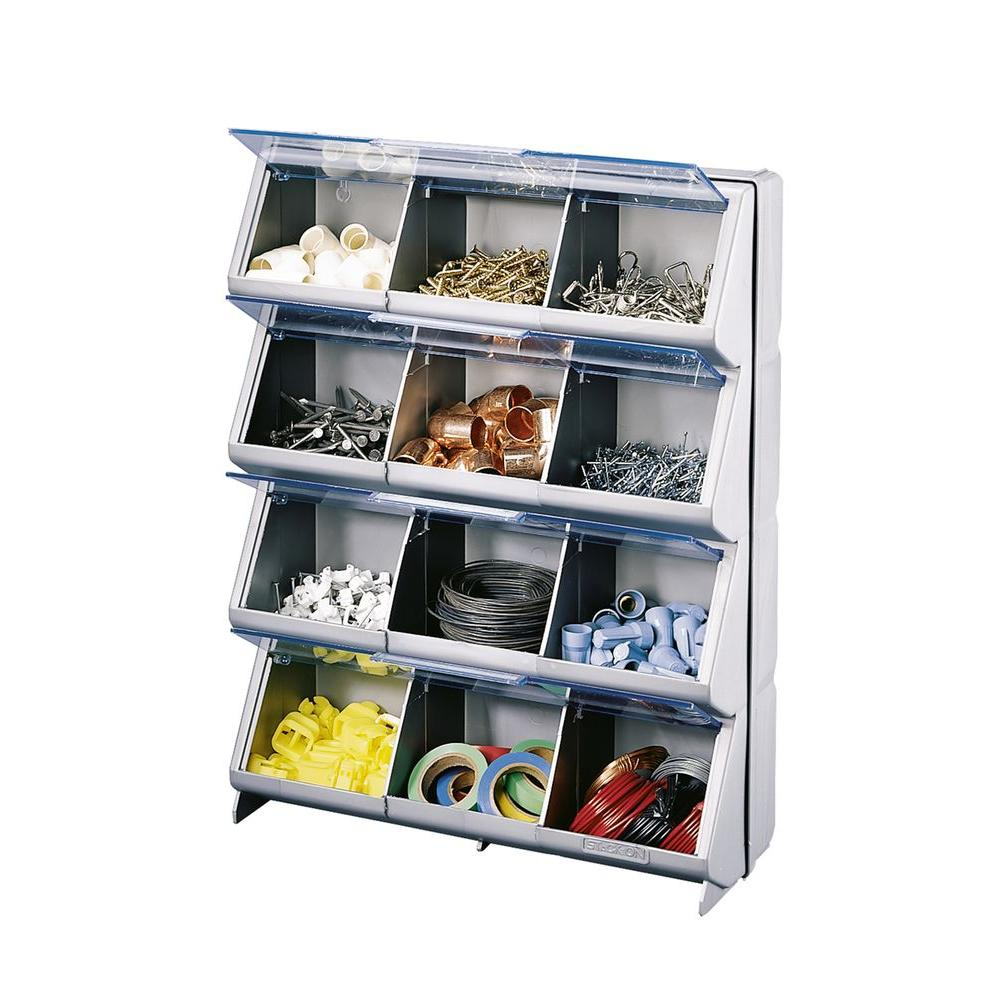 Bon Stack On 14.38 In. Clear View 12 Bin Organizer