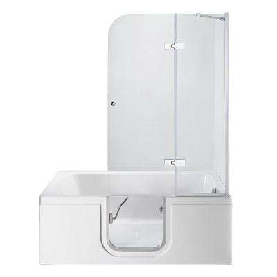 Laydown 60 in. Walk-in MicroBubble Air Bathtub in White, RHS Hinged Middle Glass Door, Glass Door Screen,2 in. RHS Drain