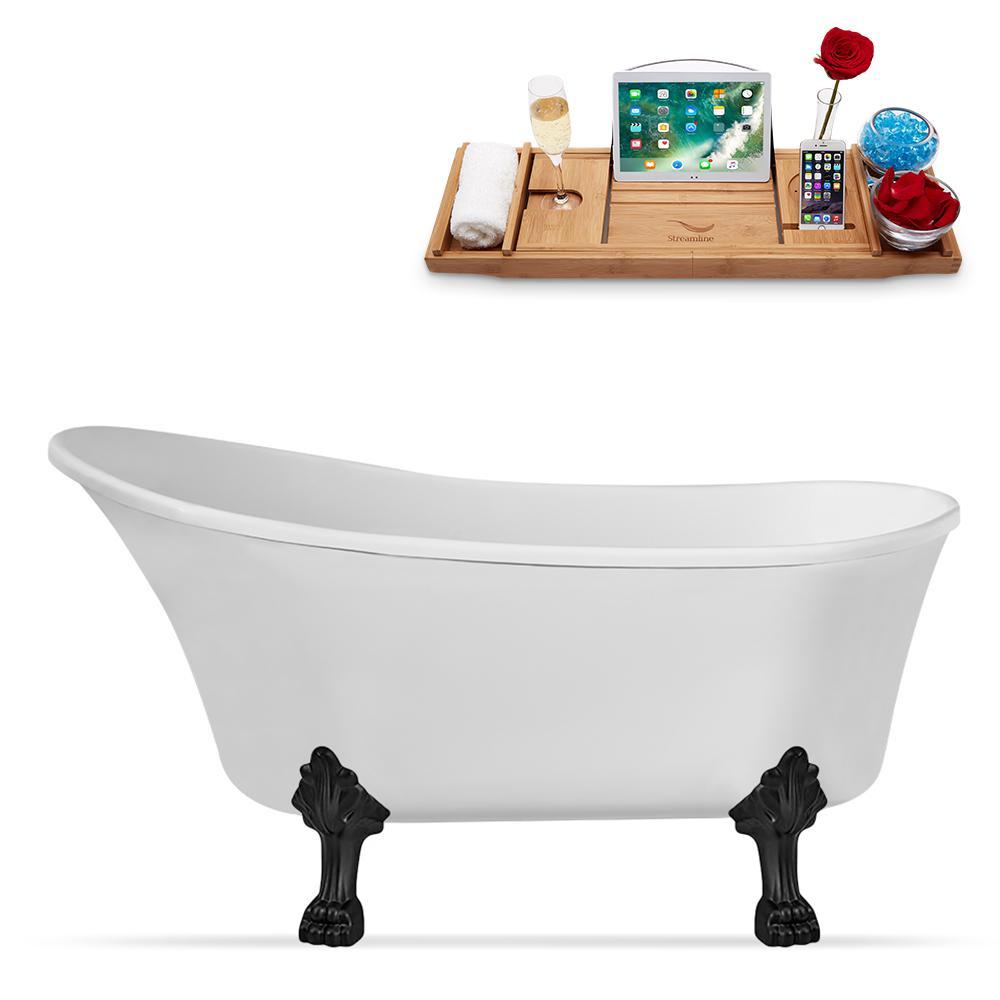 55 in. Acrylic Clawfoot Non-Whirlpool Bathtub in White