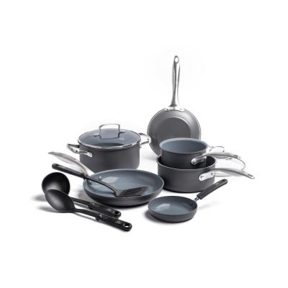 Classic Pro Hard Anodized Aluminum 12-Piece Dark Grey Cookware Set