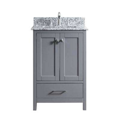 Caroline Madison 24 in. W x 22 in. D Vanity in Grey with Granite Vanity Top in Arctic White with White Square Basin