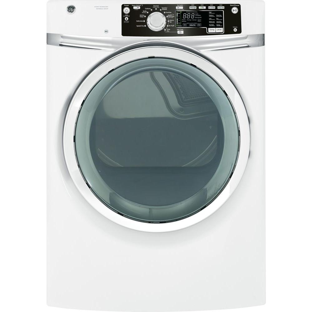 GE 8.1 cu. ft. Electric Dryer with Steam in White