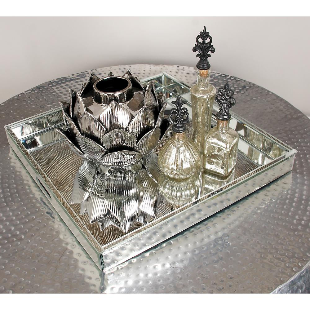 Modern Silver Finished Decorative Mirror Tray