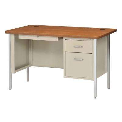 600 Series 30 in. H x 60 in. W x 30 in. D Single Pedestal Steel Desk in Putty/ Medium Oak