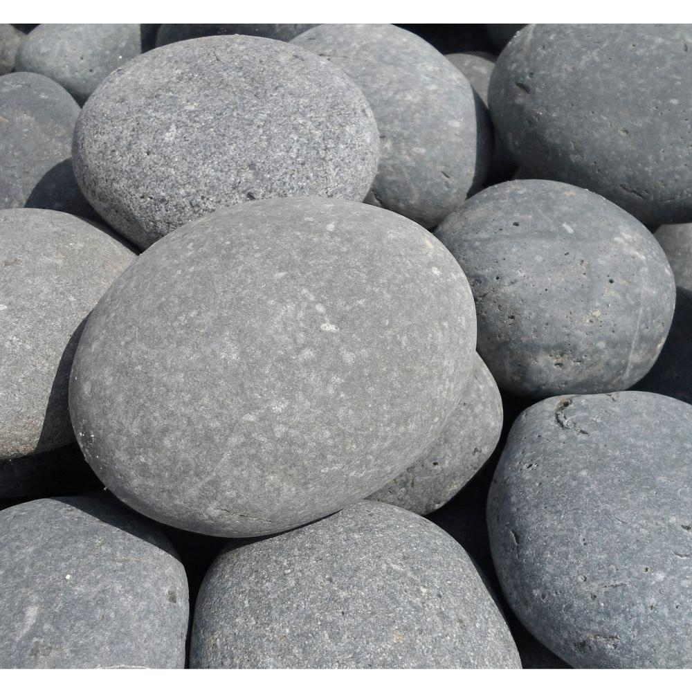 Butler Arts 6 in. to 8 in. Black Pina Mexican Beach Pebble (2200 lb. Contractor Super Sack)