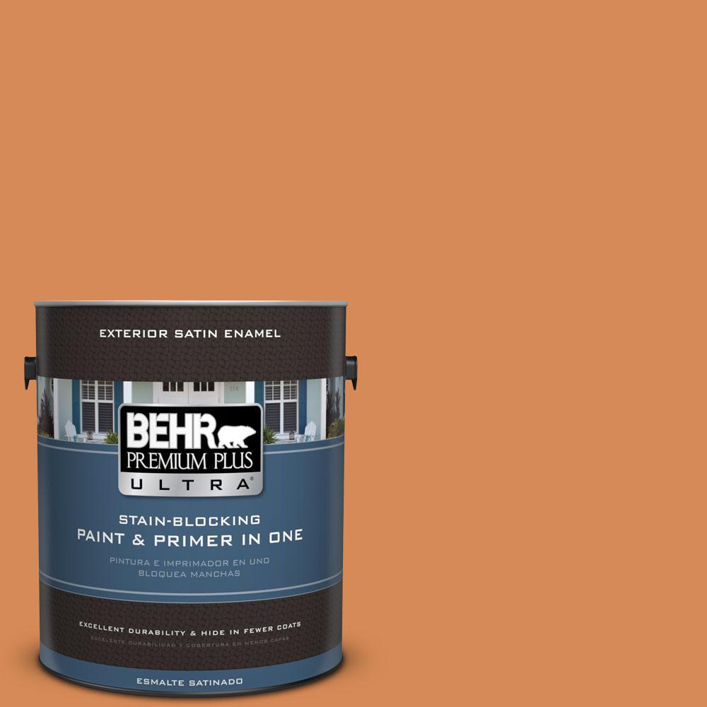 BEHR Premium Plus Ultra 1-gal. #PMD-80 Spiced Pumpkin Satin Enamel Exterior Paint
